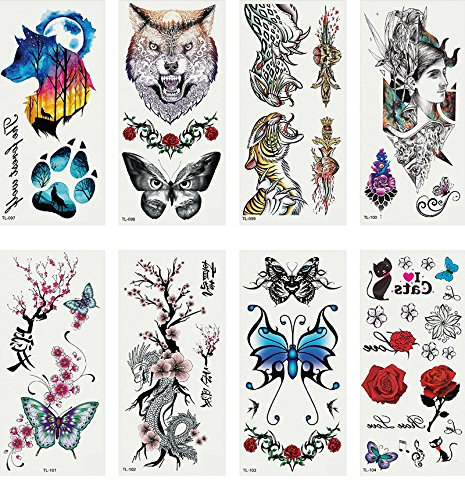 eb29c021a Oottati 8 Sheets Temporary Tattoo 3D Stickers Hand Ankle Wolf Footprint  Butterfly Tiger Rose: Amazon.co.uk: Beauty