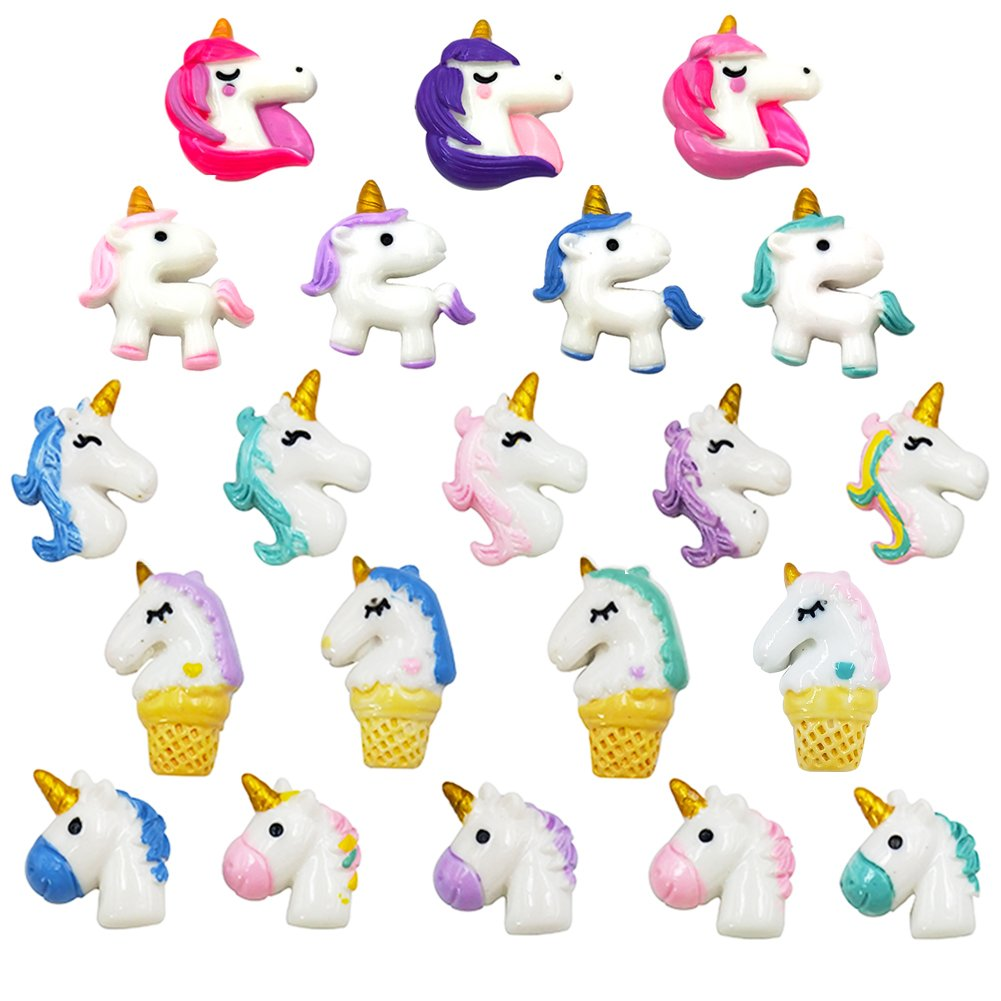21 Pieces Unicorn Fridge Magnets Slime Charms Office Kitchen Refrigerator Whiteboard Dry Erase Board Cute Fun Handmade DIY Crafts Decoration Colorful (21)