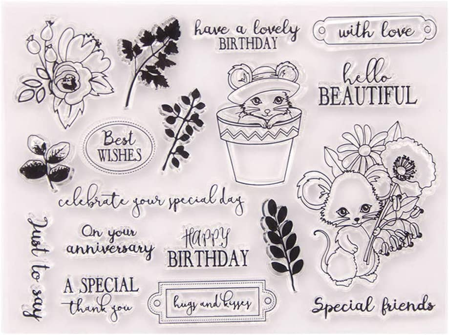 4.7 by 6.3 Inches Flower Leaves Rabbits Happy Birthday Letters Clear Stamps for Scrapbooking Card Making Birthday Rubber Stamps