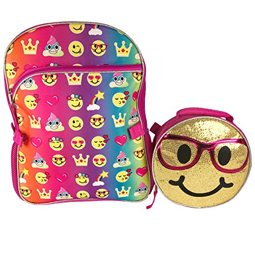 Emoji 16″ Inch Backpack & Lunch Bag Set – Emojicon Style With Gold Sequin Removable Lunchbag