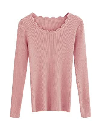 50697d6fdc Romacci Women Knitted Sweater Long Sleeve Solid Slim Autumn Winter Pullover  Basic Thin Knitwear Top  Amazon.co.uk  Clothing