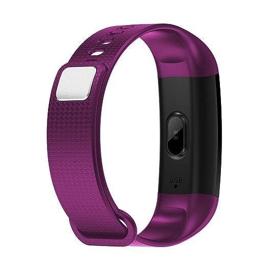qhj Smart Watch Sport Fitness Actividad de frecuencia cardíaca Tracker Tensiómetro de reloj, morado: Amazon.es: Deportes y aire libre