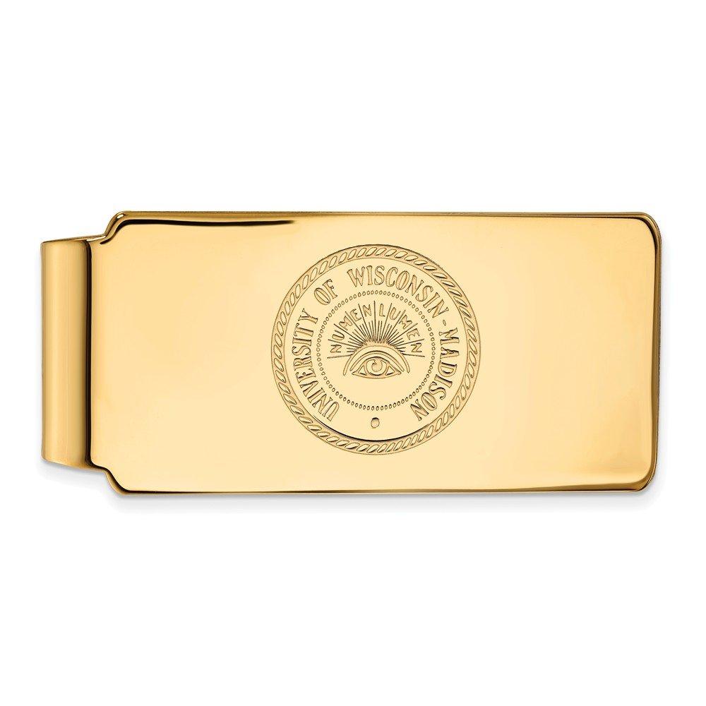55mm x 26mm Jewel Tie 10k Yellow Gold Big Heavy University of Wisconsin Money Clip