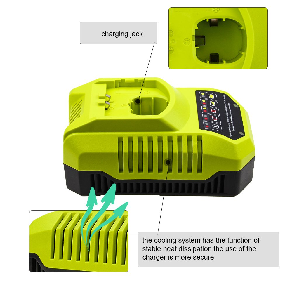 Replace Ryobi Charger for Ryobi 9.6v-18v P102 P105 P107 P117 P113 Charger One+ Dual Chemistry IntelliPort Lithium Ion and NiCad by GERIT BATT (Image #3)