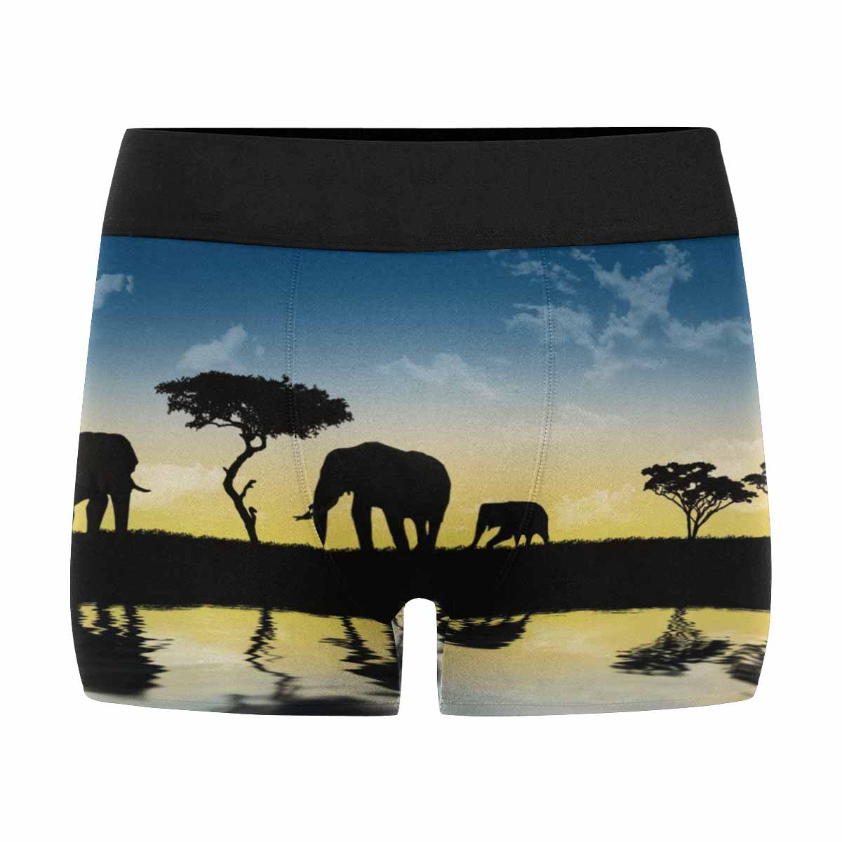 Silhouette of Wild Animals Reflection in Water INTERESTPRINT Mens All-Over Print Boxer Briefs Safari in Africa XS-3XL