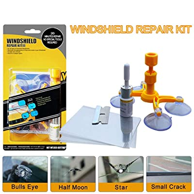 LIFEDE Windshield Repair Kit, Windshield Chip Repair Kit, DIY Car Windshield Glass Repair Tool for Repair Windshield Crack, Half Moon Crescents,Star Chips,and Bulls Eye.(1 Pack): Automotive