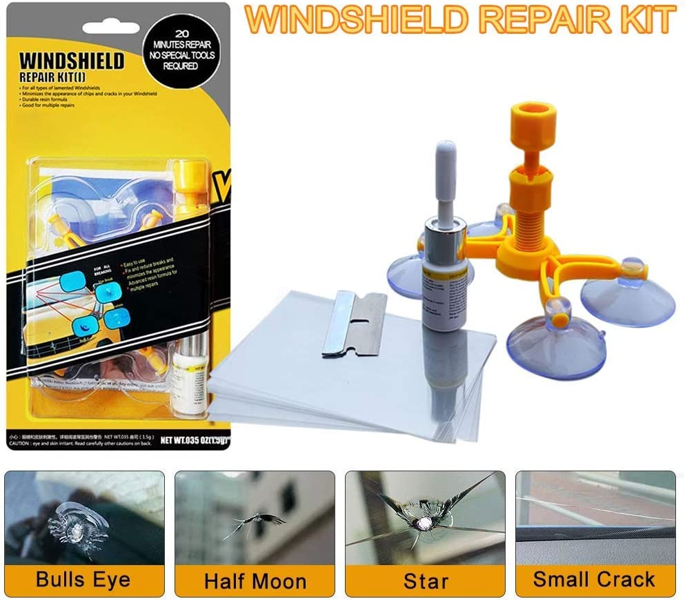 LIFEDE Windshield Repair Kit, Windshield Chip Repair Kit, DIY Car Windshield Glass Repair Tool for Repair Windshield Crack, Half Moon Crescents,Star Chips,and Bulls Eye.(1 Pack)