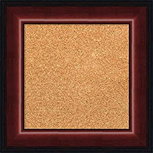 Framed Tan Cork Board Bulletin Board | Tan Cork Boards Cyprus Walnut Narrow Frame | Framed Bulletin Boards | 21.12 x 15.12″