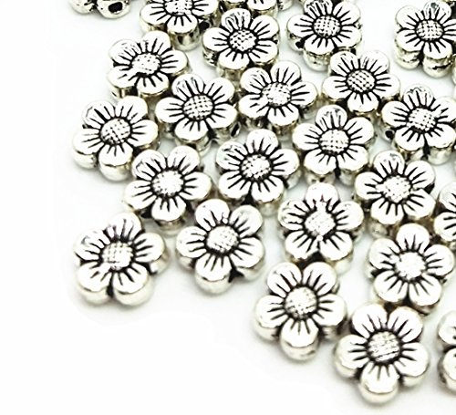 QTMY 50 PCS 2mm Macroporous Flower Spacer Beads for Jewelry Making Supplies in Bulk