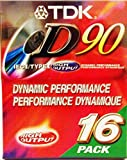 TDK D90 High Output Dynamic Performance Audio Cassette (16 pack)