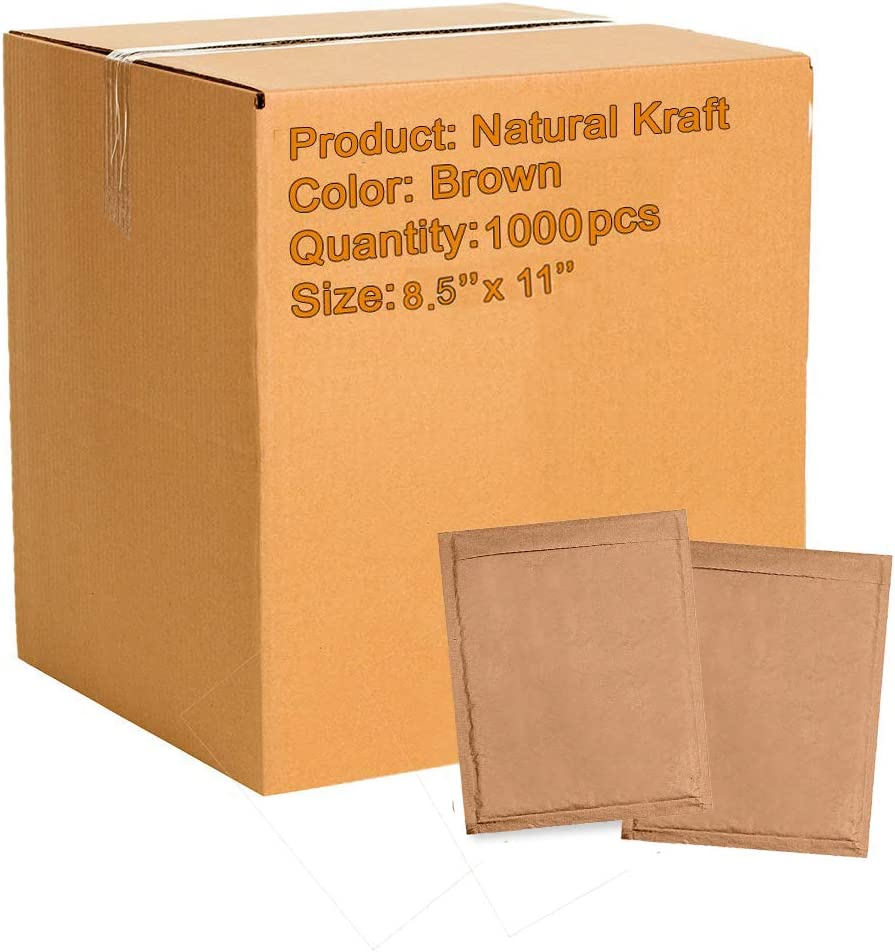1000 Pack Natural Kraft Padded envelopes 8.5 x 11 Bubble Mailers 8 1/2 x11 Brown Bubble envelopes. Peel and Seal. Brown Cushion envelopes for Shipping, Packing. Durable Kraft mailers, Wholesale.