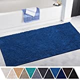 DEARTOWN Non-Slip Thick Microfiber Bathroom Rugs, Machine-Washable Bath Mats with Water Absorbent (27.5x47 Inches, Blue)