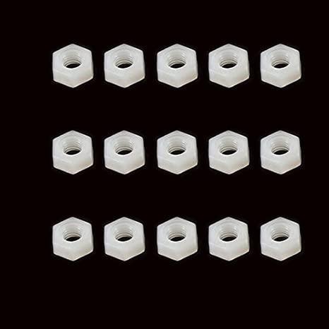 MadridGadgetStore® 15x Tuercas M3 de Nylon Hexagonal Blanca para ...