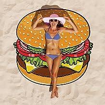 Duebass Large Beach Shawls Gigantic Beach Blanket (Hamburger)