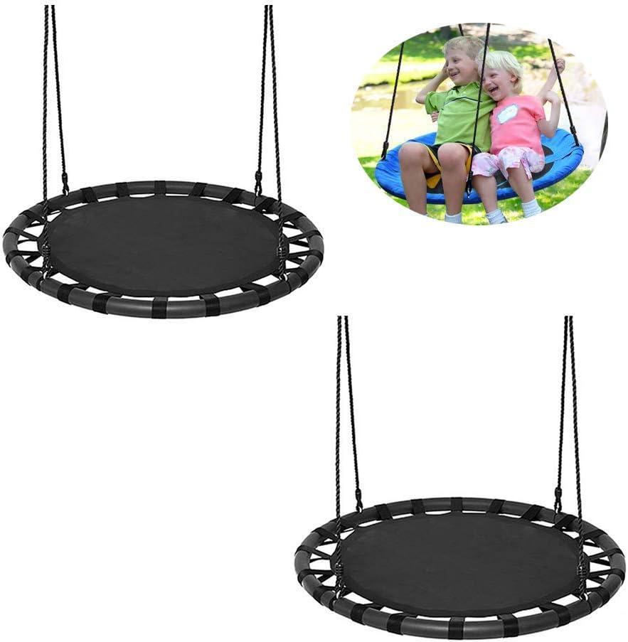 Swing,Nest Swing for Children Adult Garden Swing Carries Up to 440Lbs,Height-Adjustable Children's Outdoor Swing 2 Piece Set,Black