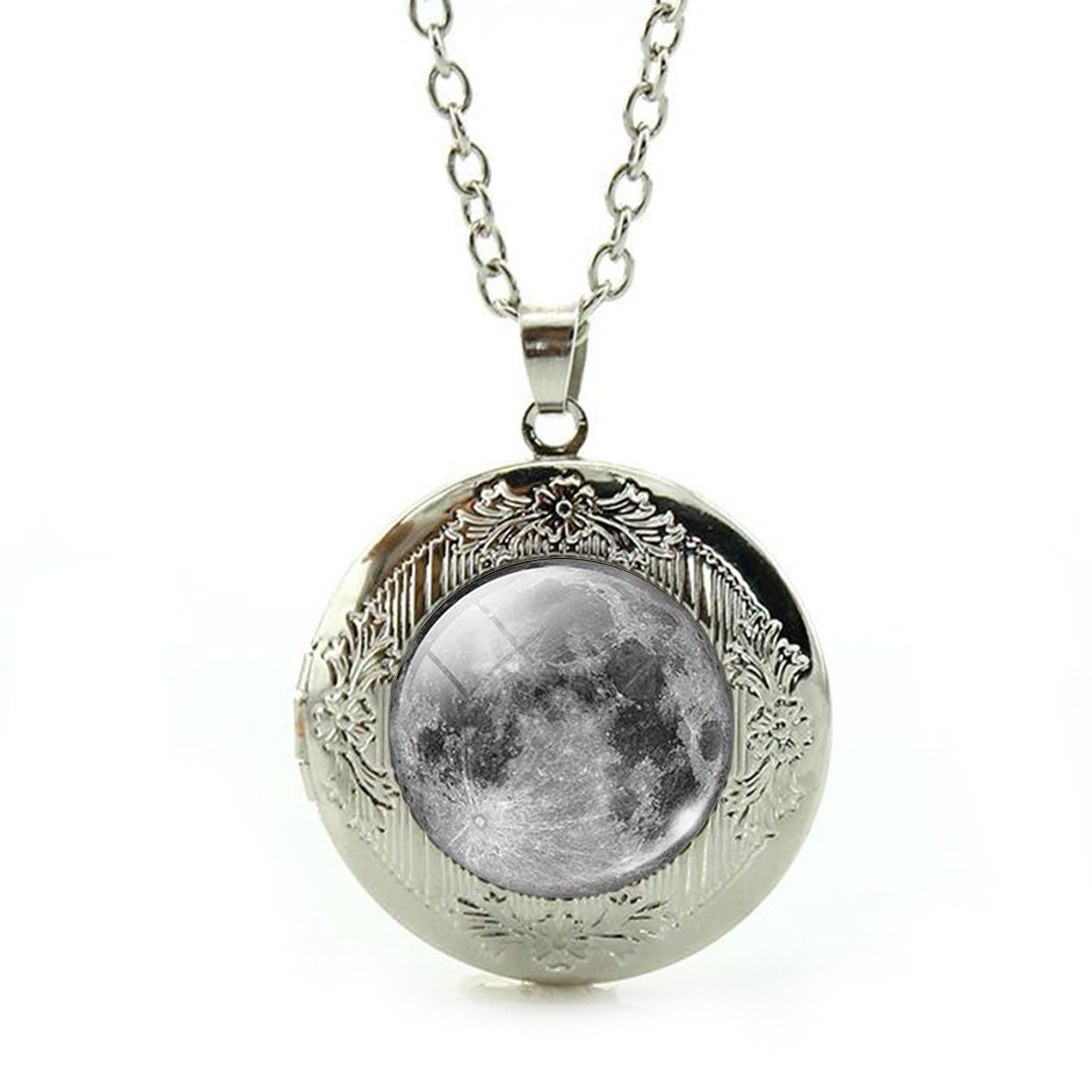 Women's Custom Locket Closure Pendant Necklace Antique Grey Ocean Included Free Silver Chain, Best Gift Set