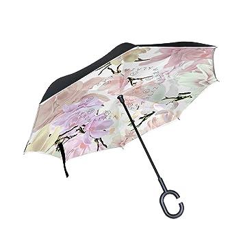 BENNIGIRY Hermoso Paraguas Reversible Plegable de Doble Capa con Paraguas invertido, Resistente al Viento,