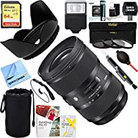 Sigma (588954) 24-35mm F2 DG HSM Standard-Zoom ART Lens for Canon SLR EF Cameras + 64GB Ultimate Filter & Flash Photography Bundle