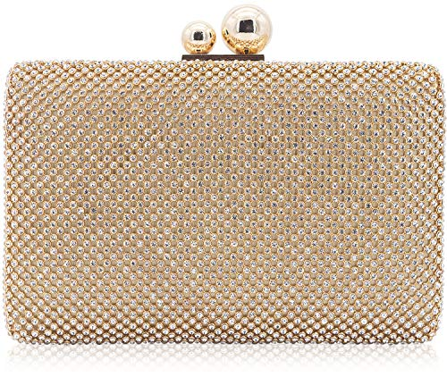 Dexmay Rhinestone Crystal Clutch Evening Bag for Cocktail Prom Party 2 Balls Clasp Women Boxed Purse Gold