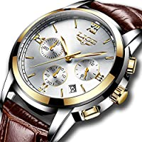 Mens Business Quartz Watches with Brown Leather Strap Analog Waterproof Casual Classic Dress Wristwatch