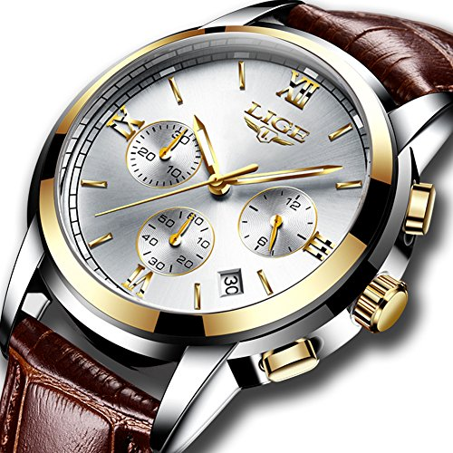 - Mens Business Quartz Watches with Brown Leather Strap Analog Waterproof Casual Classic Dress Wristwatch ¡­