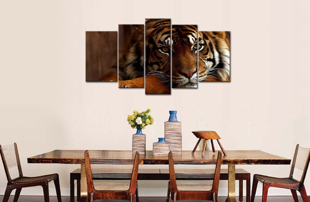 Amazon.com: So Crazy Art 5 Piece Wall Art Painting Tiger Pictures Prints On  Canvas Animal The Picture Decor Oil For Home Modern Decoration Print For ...