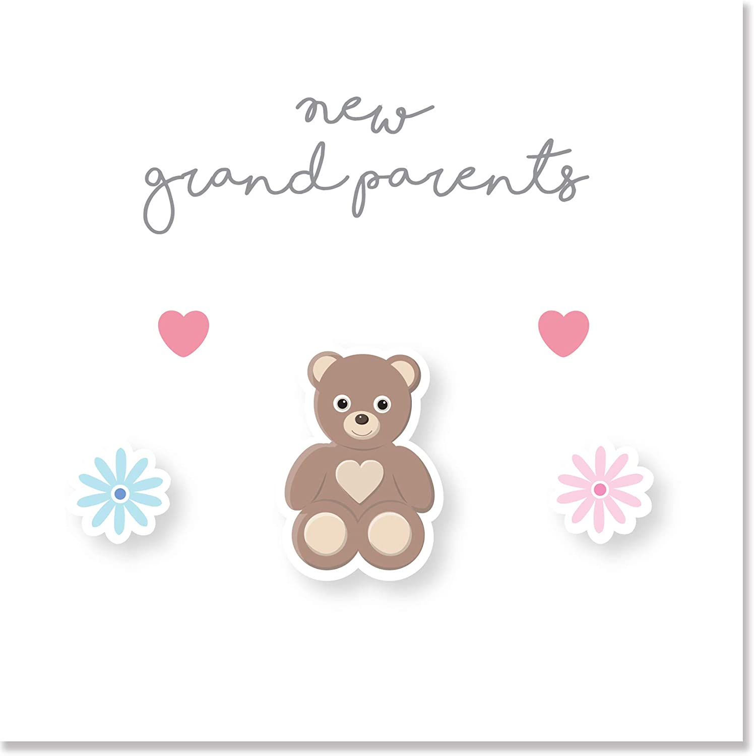 New Grandparents Card with Silver Script 150mm Teddy Bear Design by Jonathan Glick Designs