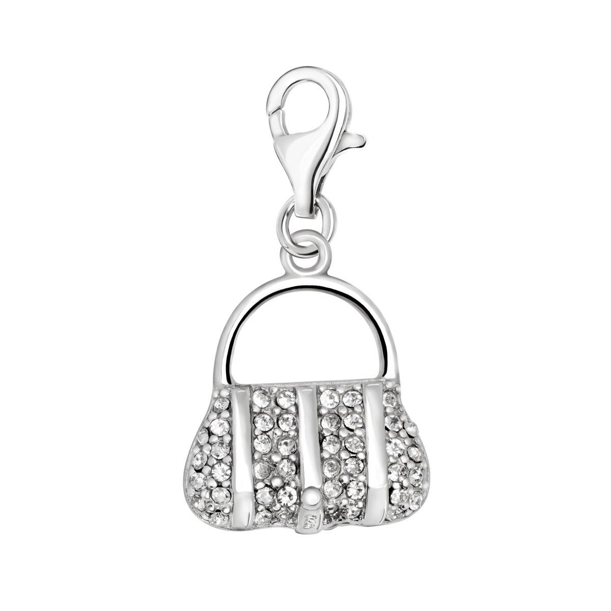 Quiges Charm Pendentif Perle avec Fermoir Femme Argent 925 Sac à Main 3D Oxyde de Zirconium Blanc HC064