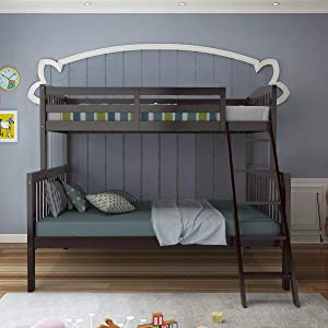 Giantex Twin Over Full Bunk Bed, Solid Rubber Wood Bunk Loft Bed Frame with Ladder and Guardrail, Convertible Bunk Bed into 2 Beds, Space Saving, Easy Assembly, Great for Teens and Kids (Espresso)