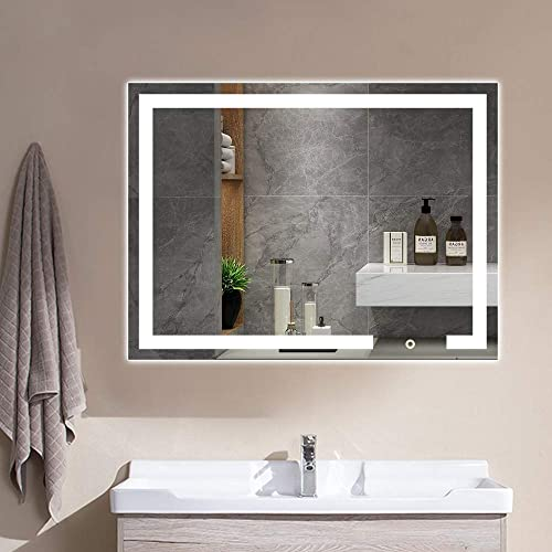 Vanity Lighted Mirror 32x24 Inches LED Large Makeup Dimmable