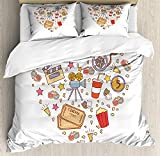 Movie Theater Twin Duvet Cover Sets 4 Piece Bedding Set Bedspread with 2 Pillow Sham, Flat Sheet for Adult/Kids/Teens, Cinema Attribute Love Retro Icons Collection in the Shape of a Heart Colorful