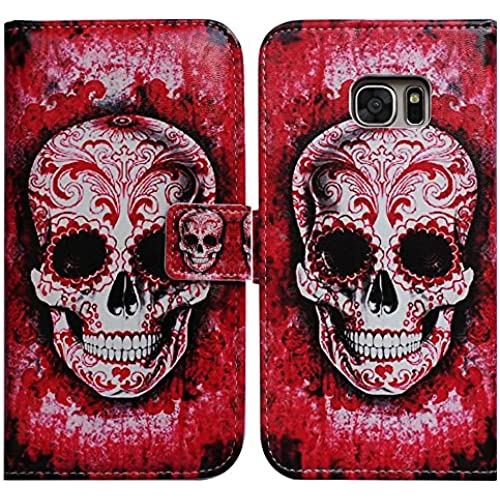 Bfun Packing Bcov Cool Red Flower Skull Card Slot Wallet Leather Cover Case For Samsung Galaxy S7 Sales
