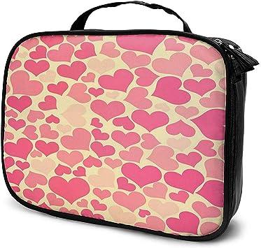 Pink Lovely Heart Makeup Bag Estuche de cosméticos portátil Organizador de cosméticos de Gran Capacidad Durable: Amazon.es: Equipaje