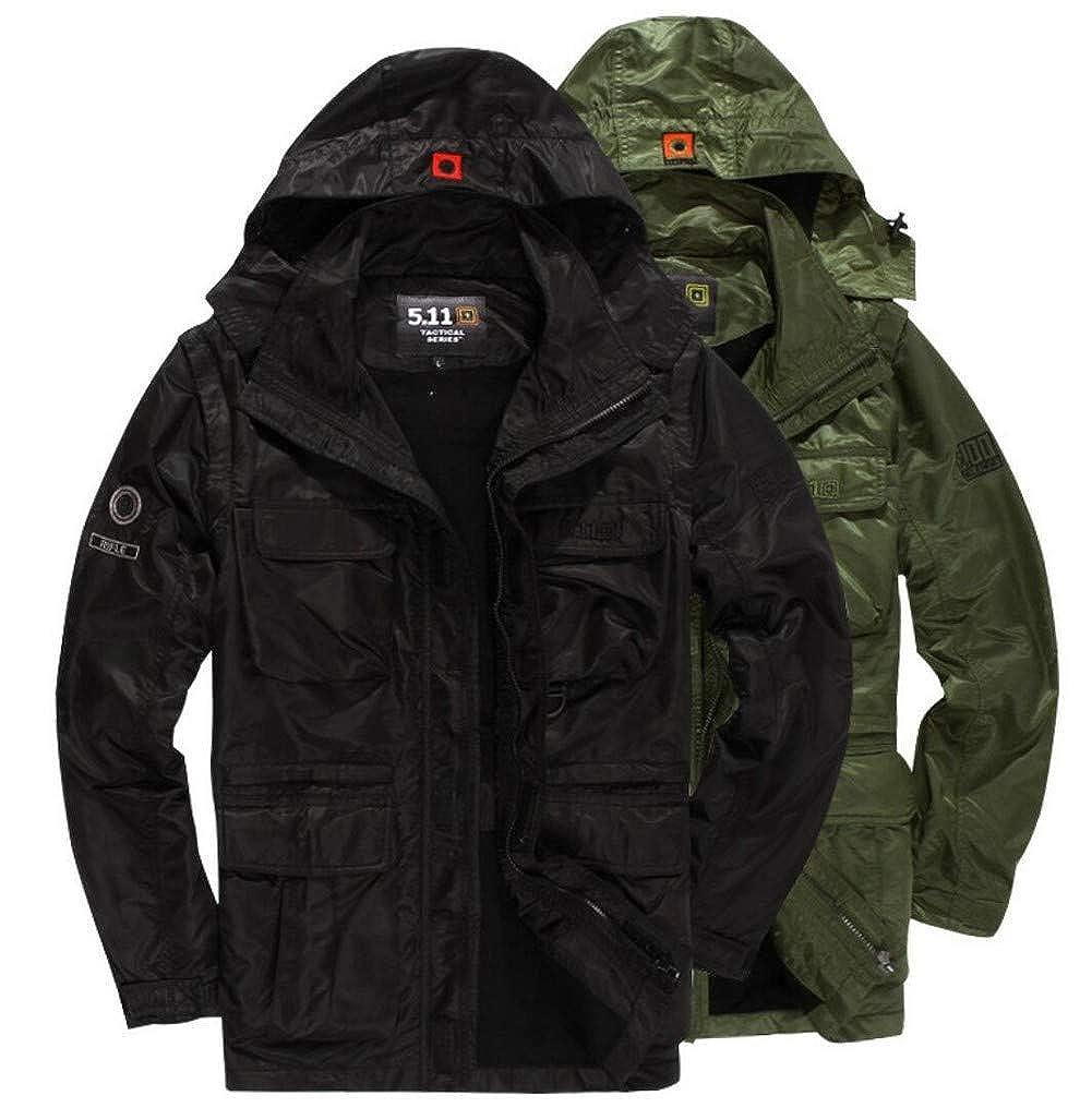 e5633f6543a FGYYG Autumn Winter Men s Thicken Warm Military Waterproof Jacket Fashion  Hooded Multi-Pocket Parka Windbreaker Coat  Amazon.co.uk  Clothing