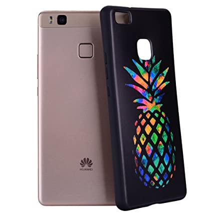 Yunbaozi Funda Compatible para Huawei P9 Lite Embossing Case Carcasa Suave Impresión 3D Caucho TPU Flexible Cáscara Delgado Ligero Alivio Negro ...