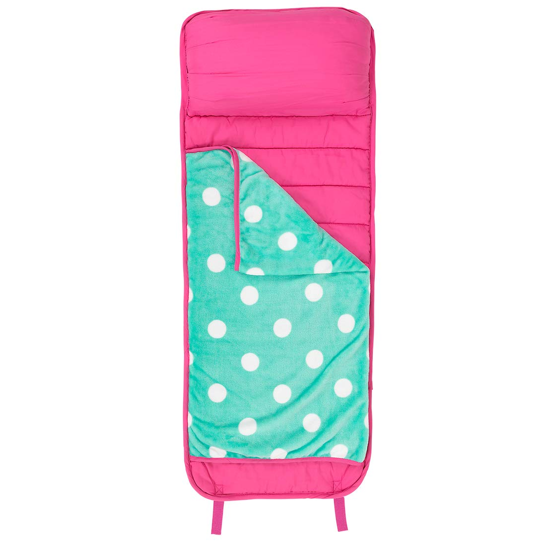 WB Nap Mat Hot Pink Mint Dot 47 x 18 Polyester Plush Fabric Slumber Sleeping Bag