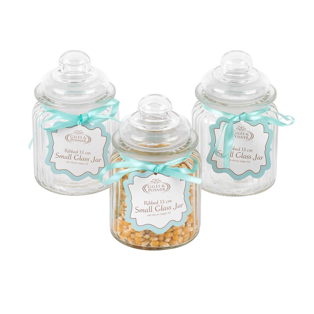 Giles & Posner COMBO-3263 Two Piece Ribbed Glass Candy Baking Storage Jars, Large Sized Caddies
