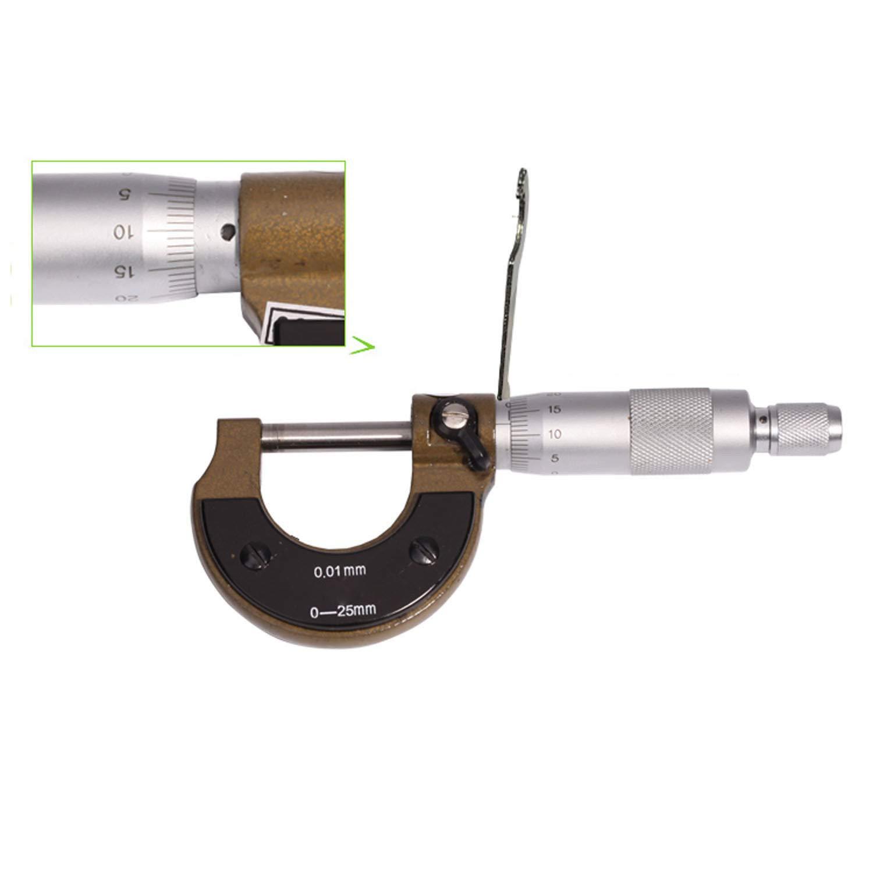 Diam/ètre ext/érieur Microm/ètre Dur Alliage 0-25mm Durable Pratique Analyse Outil Largeur Mesure Jauge D/épaisseur