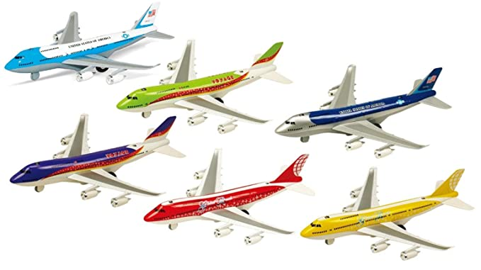 IndusBay 7.5 Inches Diecast Alloy Metal Boeing 787 Airplane Model , Light & Sound Aeroplane Scaled Desk Toy for Kids - Set of 6 (Assorted Colors)