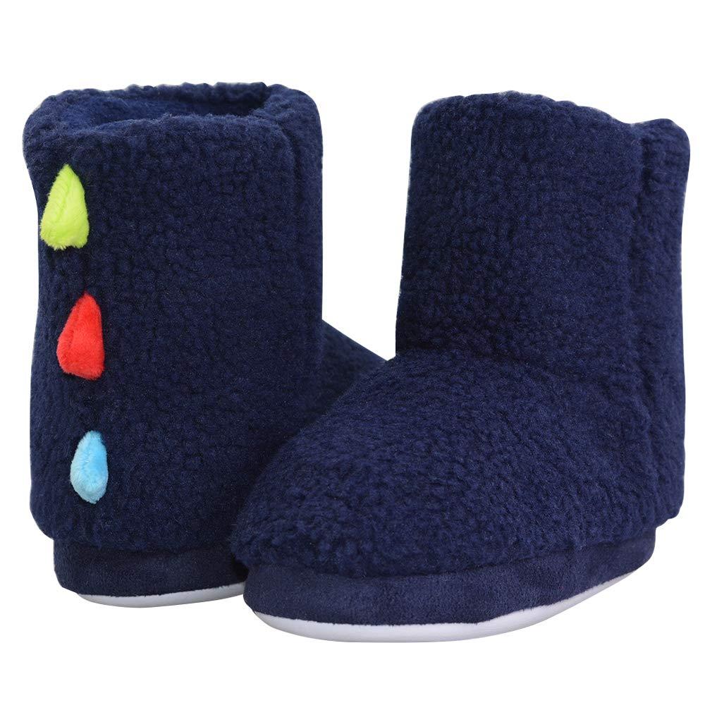 LA PLAGE Winter Kid/Boy/Toddler Warm Indoor Non-Skid Comfortable Bootie Slippers 12-13 US Dark Blue by LA PLAGE