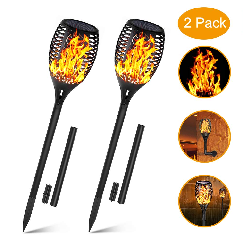 Solar Lights Outdoor Upgraded, Permande Solar Torches with Flickering Flame Waterproof Solar Spotlights Landscape Decoration Lighting 96 LED Dusk to Dawn Auto On/Off Security Light for Garden Pathway by Permande