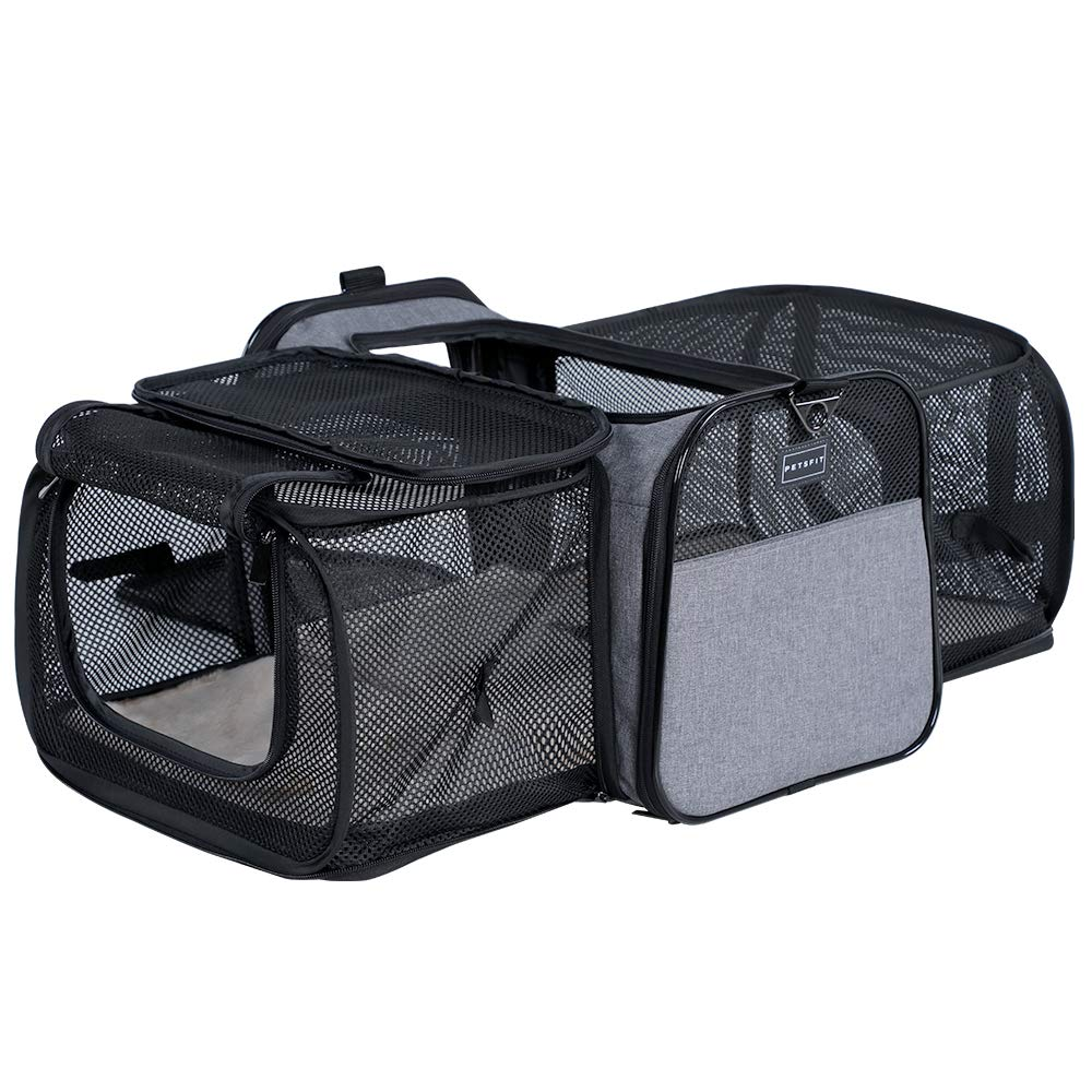 Petsfit Most Airline Approved Solid Expandable Carrier with 2 Large Extensions for Pets up to 15 Pounds by Petsfit