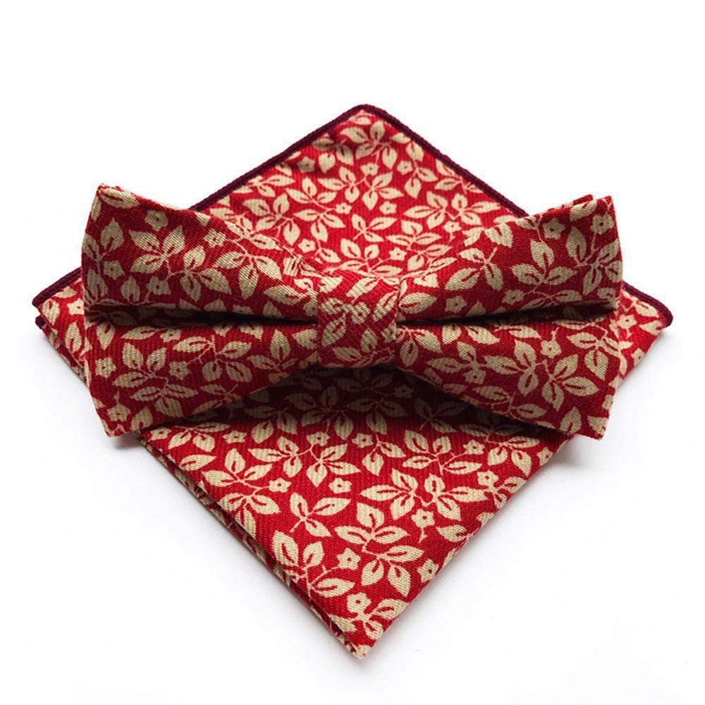 ZhiGe Bow Ties,Dressing Cotton Bow tie Mens Wedding Dress Suit Bow tie Pocket Towel Set
