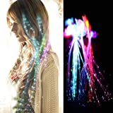Rainbow Colors LED Lights Hair, Light-Up Fiber Optic LED Hair Barrettes Party Favors for Party, Bar Dancing Hairpin…