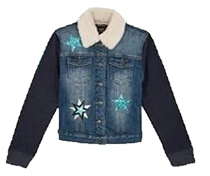 9cf430e93504 Amazon.com  Vigoss Hooded Denim Jacket for Girls - Knit Hood ...