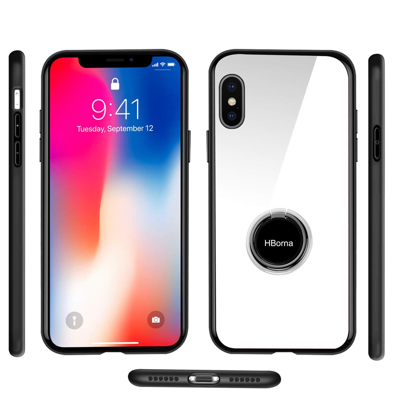 Coque iPhone X, Coque iPhone 10 avec Béquille Porte-Anneau, 9H Couverture Arrière en Verre trempé et TPU Bupmer Anti-Scratch Housse pour iPhone X (Blanc)