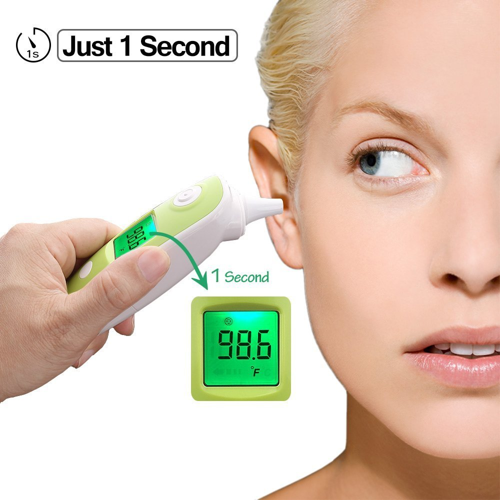 BuySevenSide Ear Thermometer with Forehead Function,Digital Laser Infrared Thermometer Temperature Gun Instant Read Accuracy Professional Temperature for Children and Adults with Fever Indicator by BuySevenSide (Image #5)