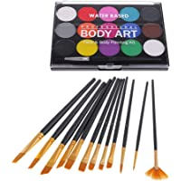 Baoblaze Face Paint Kit - Light and Breathable Body Paints Children Face Painting 15 Colors Palette with 12 Sizes Brush Kit Non-Toxic Kids Adults Water Based