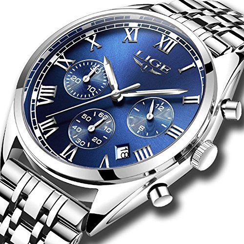 Men's Watches Business Stainless Steel Analog Quartz Dress WristWatch LIGE Gents Classic Luminous Waterproof Chronograph Sport Watches Silver Blue Dial Watches for Men (Silver Chronograph Mens)