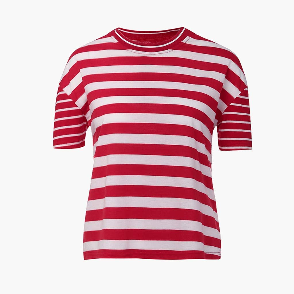 YFancy Fashion Women Summer Short Sleeve Tops O-Neck Striped Print Patchwork Casual Daily Blouse T-Shirt Fit Tee Tunic